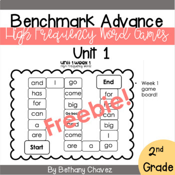 Benchmark Advance High Frequency Word Games FREEBIE