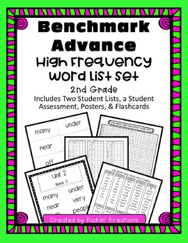 Benchmark Advance High Frequency Word List Set - 2nd Grade (Ca. and National)