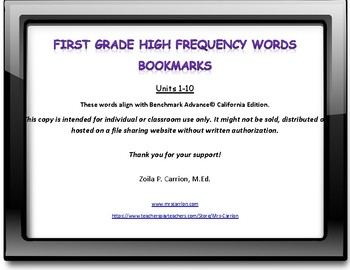 Benchmark Advance High Frequency Words Bookmarks Units 1-10