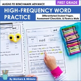 Benchmark Advance High Frequency Words Practice (First Grade, Units 1-10)