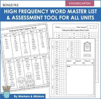 Benchmark Advance High Frequency Words Practice (Kindergarten Units 1-10 BUNDLE)