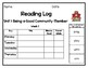 Benchmark Advance Inspired Weekly Reading Logs First Grade Units 1 - 10