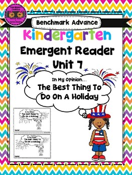 Benchmark Advance Kinder Emergent Book Unit 7 In My Opinion
