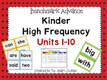 Benchmark Advance Kindergarten High-Frequency List A-D (38 Words)