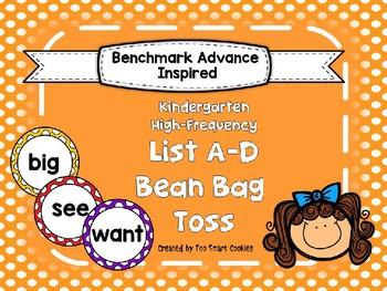 Benchmark Advance Kindergarten High Frequency List A-D Bean Bag Toss (38 words)