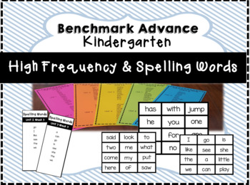 Benchmark Advance Kindergarten High Frequency/Spelling Flash Cards & Word Lists