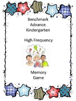 Benchmark Advance Kindergarten High Frequency Word Memory Game