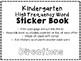 Benchmark Advance Kindergarten High Frequency Word Sticker Book