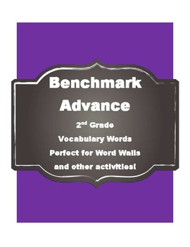 Benchmark Advance Kindergarten (Kinder) vocabulary cards-Simple Style
