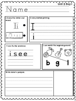 Benchmark Advance Kindergarten Morning Work Unit 3