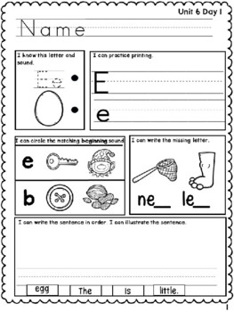 1f. Benchmark Advance Kindergarten Morning Work Unit 6