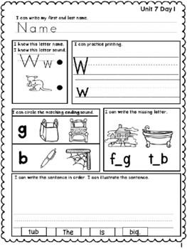 Benchmark Advance Kindergarten Morning Work Unit 7