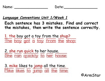 Benchmark Advance Spelling and Language Convention Quizzes - Grade 2 (2nd Grade)