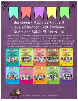 Benchmark Advance Leveled Reader Questions BUNDLE- 3rd (THIRD) Grade