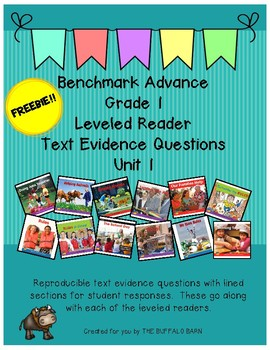 Benchmark Advance Leveled Reader Questions for Unit 1-  1st (FIRST) Grade