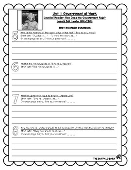 Benchmark Advance Leveled Reader Questions for Unit 1-  2nd (SECOND) Grade