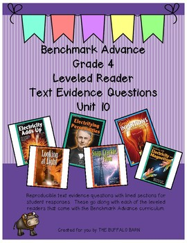 Benchmark Advance Leveled Reader Questions for Unit 10- 4th (FOURTH) Grade