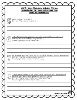 Benchmark Advance Leveled Reader Questions for Unit 2- 3rd (THIRD) Grade