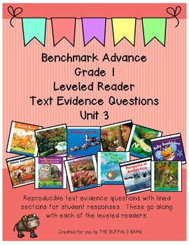 Benchmark Advance Leveled Reader Questions for Unit 3-  1st (FIRST) Grade