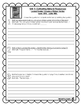 Benchmark Advance Leveled Reader Questions for Unit 3- 5th (FIFTH) Grade