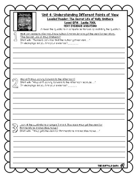 Benchmark Advance Leveled Reader Questions for Unit 4- 4th (FOURTH) Grade