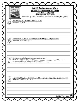Benchmark Advance Leveled Reader Questions for Unit 5-  1st (FIRST) Grade