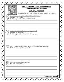Benchmark Advance Leveled Reader Questions for Unit 6-  1st (FIRST) Grade