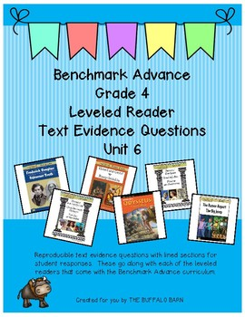 Benchmark Advance Leveled Reader Questions for Unit 6- 4th (FOURTH) Grade