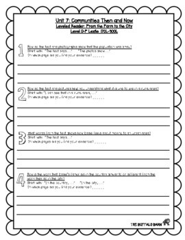 Benchmark Advance Leveled Reader Questions for Unit 7- 3rd (THIRD) Grade