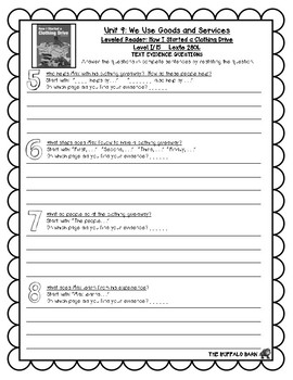 Benchmark Advance Leveled Reader Questions for Unit 9-  1st (FIRST) Grade
