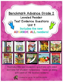 Benchmark Advance Leveled Reader Questions for Unit 9-  2nd (SECOND) Grade