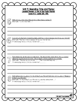 Benchmark Advance Leveled Reader Questions for Unit 9- 3rd (THIRD) Grade