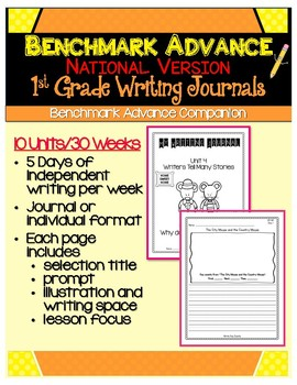 Benchmark Advance National First Grade Daily Writing Journals - Units 1 - 10