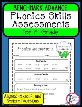 Benchmark Advance Phonics Assessments - 1st Grade (Ca. and National)