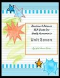 Benchmark Advance RLA Weekly Assessment Grade 1 Unit 7 (3 weeks)