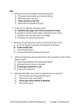 Benchmark Advance Reading Comp Quiz 3rd Grade.  Three Immigrant Communties