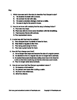 Benchmark Advance Reading Comp. Quiz 5th Grade.  Paul Bunyan