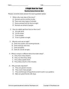 Benchmark Advance Reading Comprehension Quiz 1st Grade A Night Hunt for Food