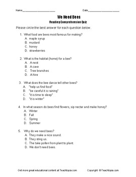 Benchmark Advance Reading Comprehension Quiz 1st Grade We Need Bees