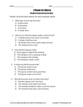 Benchmark Advance Reading Comprehension Quiz 1st Grade A Room for Moose