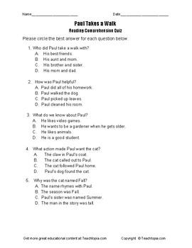 Benchmark Advance Reading Comprehension Quiz 1st Grade   Paul Takes A Walk