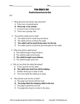 Benchmark Advance Reading Comprehension Quiz 1st Grade Pete Mule's Hat