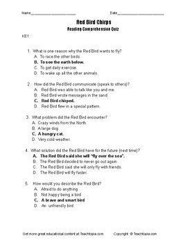 Benchmark Advance Reading Comprehension Quiz 1st Grade Red Bird Chirps