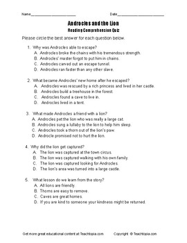 Benchmark Advance Reading Comprehension Quiz 2nd Grade Androcles and the Lion