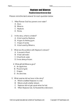 Benchmark Advance Reading Comprehension Quiz 2nd Grade.  Neptune and Minerva