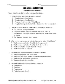 Benchmark Advance Reading Comprehension Quiz 3rd Grade. From Mexico and Slavakia