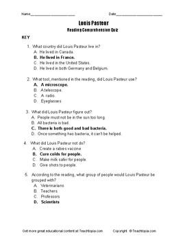 Benchmark Advance Reading Comprehension Quiz 3rd Grade.  Louis Pasteur