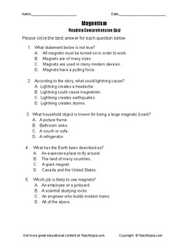 Benchmark Advance Reading Comprehension Quiz 3rd Grade.  Magnetism.