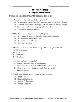 Benchmark Advance Reading Comprehension Quiz 3rd Grade.  Medical Pioneers