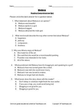 Benchmark Advance Reading Comprehension Quiz 3rd Grade.  Medusa
